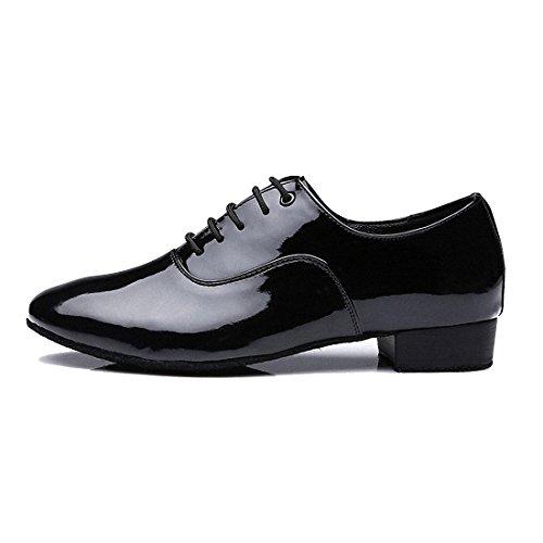 Sansha, scarpe da ballo da uomo, con tacco da 2,5cm e suola morbida, in pelle, con lacci, moderne, Nero (Bright Black), 41.5