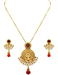 JFL - Traditional Ethnic One Gram Gold Plated Diamond & Maroon Stone Designer Pendant Set For Women & Girls.