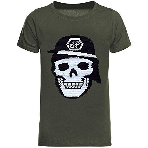 BEZLIT Jungen T-Shirt Coolen Totenkopf Wende-Pailletten Motiv 22686 Olivegrün Größe 116