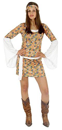 Hippie Sexy Damen Kostüm - Foxxeo buntes 60er 70er Jahre Hippie Blumen Kleid mit Haarband für Damen sexy Karneval Fasching Kostüm Party Größe M
