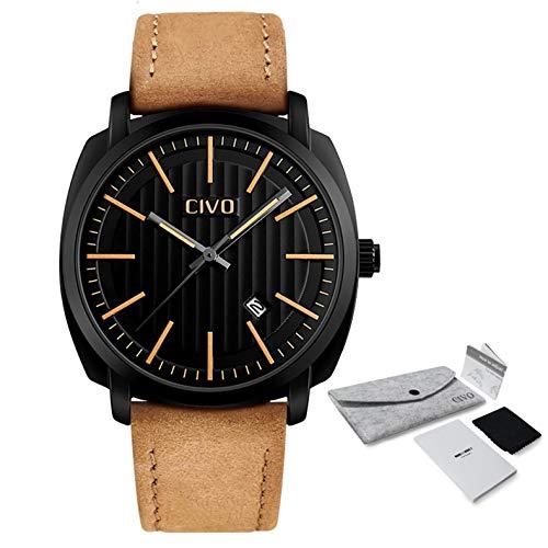 Civo orologi da uomo fascia di lusso in vera pelle marrone impermeabile...