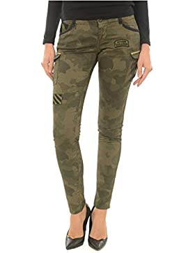 Kaporal Jeans - Pantalón Estilo Cargo Militar de Mujer Jeans Carla Verde Camuflaje
