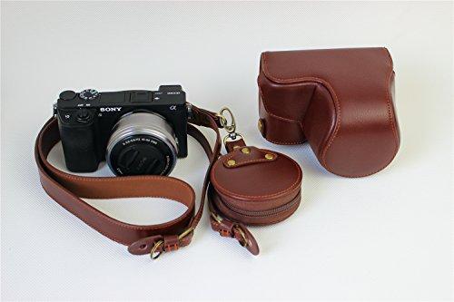Funda de piel Zakao, para cámara de fotos Sony A6000 A6300 (16 a 50 mm, incluye correa para el hombro y mini bolsa)