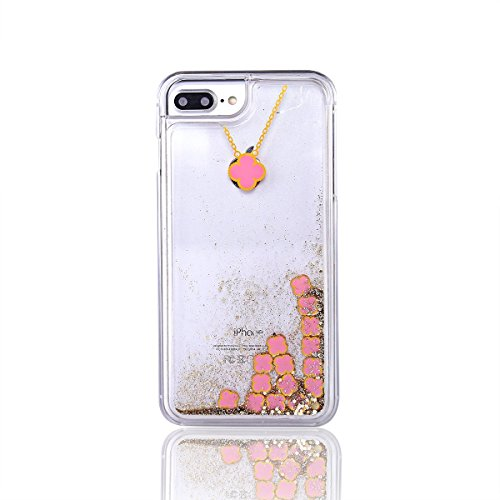 Glitzer Hülle Für iPhone 7,Transparent Hülle Für iPhone 7 Clear Glitzer Liquid Crystal Hard Case,EMAXELERS iPhone 7 Hülle Blumen,iPhone 7 Hülle Flamingo,iPhone 7 Hülle Bling Glitzer Cristal 3D Kreativ I Clover 1