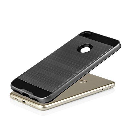 EGO® Hard Case Schutz Hülle für Huawei P8 Lite 2017 Grau Metallic Effect Aluminium Brushed Handy Cover Schale Bumper Etui Top-Qualität Grau