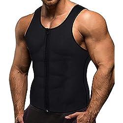 Memoryee Sauna Sweat Zipper pour Hommes pour la Perte de Poids Chaud Néoprène Corset Taille Formateur Body Top Shapewear Minceur Chemise Costume d'entraînement/Noir/M