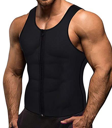 Memoryee Männer Sauna Sweat Zipper Weste für Gewichtsverlust Hot Neopren Korsett Taille Trainer Körper Top Shapewear Abnehmen Shirt Workout Suit/Schwarz/L