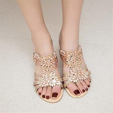 LvYuan Da donna-Sandali-Formale Casual-Altro Club Shoes Innovativo-Basso Quadrato-Lustrini Materiali personalizzati-Verde Dorato Gold