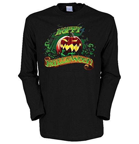Langarm-Shirt mit Halloween Motiv geil bedruckt / Happy Halloween ! Schwarz