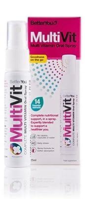 BetterYou MultiVit Multi Vitamin Daily Oral Spray 25ml A B C D Folic Acid - 160 Sprays - 40 Day supply by Betteryou