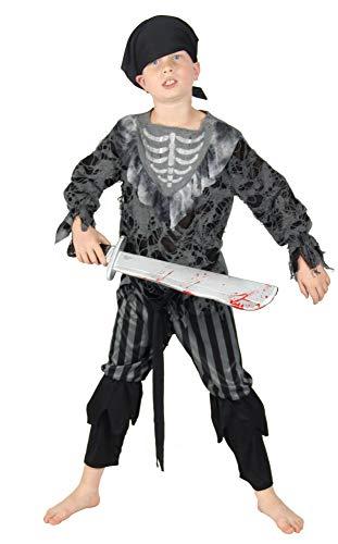 Foxxeo Skelett Geister Piraten Kostüm für Kinder Halloween Karneval Pirat Jungen Größe 134-140