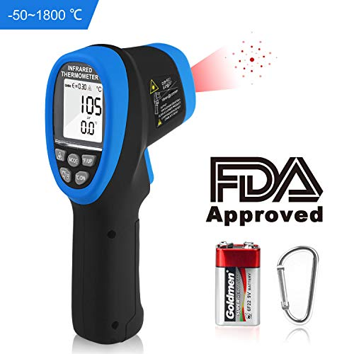 Holdpeak 1800 High Temperature Gun -50℃~1800℃(-58℉~3272℉),Digital Laser Infrared Thermometer,Non Contact IR Thermometer with D:S=50:1,Emissivity Adjustable,Max/Min/Avg and LCD Backlight for Industry