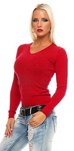 10869 Fashion4Young Damen Feinstrick-Pullover Pulli V-Ausschnitt Strickpullover Strick Shirt Strass Rot