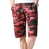 IZHH Herren Shorts, Schwimmhose Badeshorts Jogginghose Sweatpants Badehose Schnell trocknende Boardshorts Strand Surfen Laufen Schwimmen Wasserhosen Hawaii Hose Shorts(Rot,XL)
