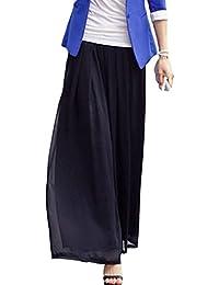 ADELINA Pantalones Anchos Mujer Pantalones De Tiempo Libre Largos Pantalones  Falda Elegantes Primavera Doble Capa Elastische Taille Color… f7224d6bc515