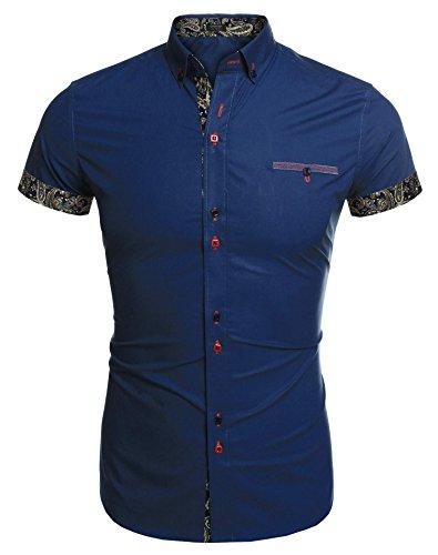 Coofandy Mens Casual Short Sleeve Shirt Layered Dress Shirt