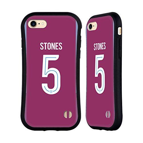 Ufficiale Manchester City Man City FC John Stones 2017/18 Giocatori Away Kit Gruppo 2 Case Ibrida per Apple iPhone 7 / iPhone 8 John Stones