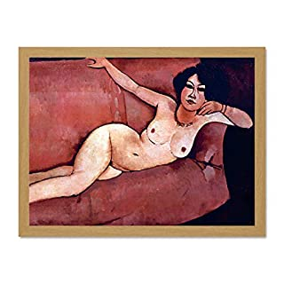 Wee Blue Coo LTD Amedeo Modigliani Act On A Sofa Almaiisa Old Master Large Framed Art Print Poster Wall Decor 18x24 inch
