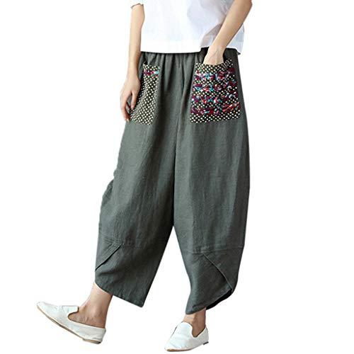 BaZhaHei Damen Hosen Pluderhosen mit weitem Bein aus Baumwolle Baumwoll-Leinen-Baggy-Hosen für Lange Hosen Freizeithose ()