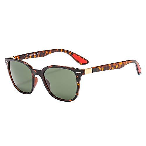 suertree Herren Sonnenbrille Gr. M, Tortoise Frame Green Lens