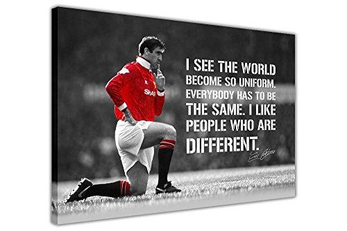 Eric Cantona und Zitat auf Rahmen Leinwand Prints Art Wand Sport Bilder Fußball Legend, weiß, 06- 40