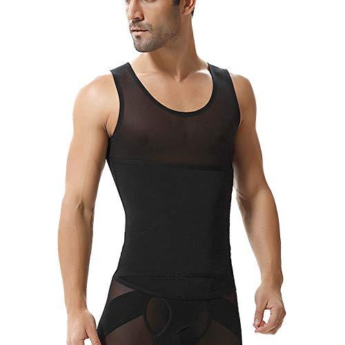 QitunC Camiseta Interior Hombre Faja Chaleco Abdominal Reductora Moldeadora Adelgazante Elástica Negro L