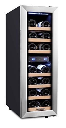 Kalamera 75BSS Weinkühlschrank • Kompressionskühler • 2 Zonen • Volumen: 65 Liter • 19 Flaschen • Kühltemperatur: 5-18 °C /10-18 °C • 7 x Holzeinschub
