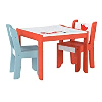 Labebe Wooden Activity Table, White Fox Child Table and Chair for 1-5 Years Old, Kid Table Chair/Wooden Child Table/Wooden Dining Table/Baby Play Table/Toddler Table/Little Table/Baby Activity Table