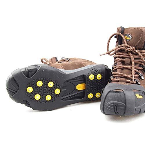 Slip-on-Überschuhe (XD7 Eisschnee Grips Schuh-Überschuhe, rutschfeste Gummi-Spikes, 10 Steigeisen Slip-on Stretch Schuhe (S-XL) Gr. 90, Schwarz)