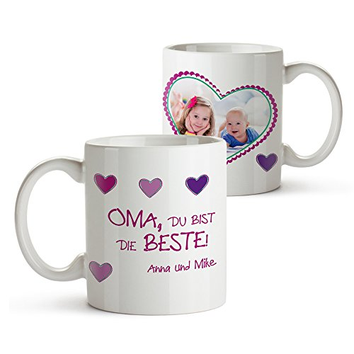 Tassenwerk Foto-Tasse mit Aufdruck - Personalisiert mit Namen und Foto – Persönliches Foto-Geschenk für Oma –Kaffeetasse in weiß als...