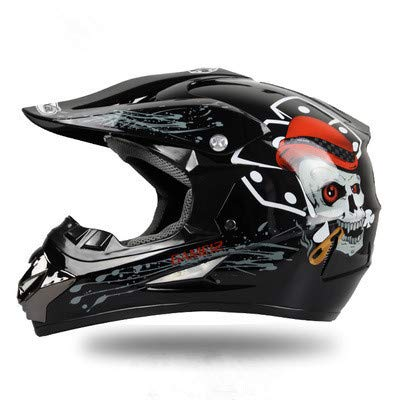 WSYY-helmet Casco MX Motocross Casco MX Casco Moto Casco ATV Road Racing D.O.T Fox Green Certificato con Guanti Maschera Antivento,A,L