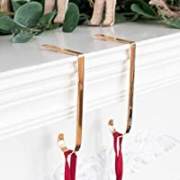 Beyond Your Thoughts Set of 2 Metal Christmas Stocking Holder Hooks Fireplace Hanger with Non-Skid Design Gold 2 Pack J