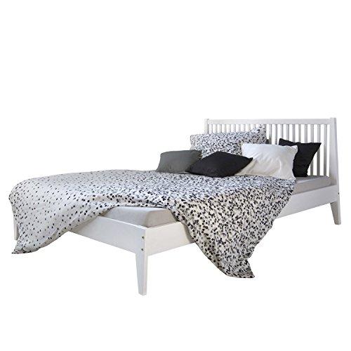 Homestyle4u 1844, Holzbett 140x 200 Weiß, Bett mit Lattenrost, Kiefer Massivholz