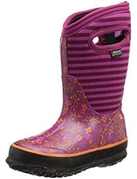 Bogs Classic Flower Stripe Kids Wellies Fuschia