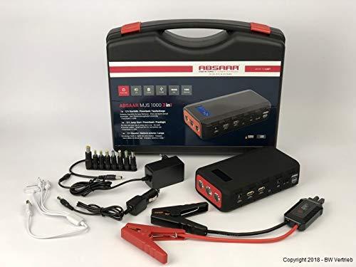 Absaar 10610 Jumpstarter MJS 1000 3 in 1, tragbare Autostarthilfe 18.000m Ah, 12V-Lithium-Starthilfe-Powerbank, Batteriestarter