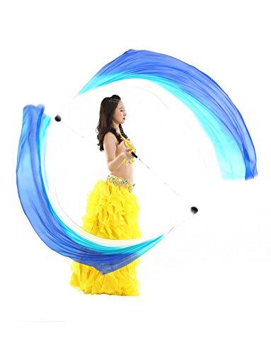 Dance Fairy Seidenschal Poi Geworfen Bälle für Berufsbauchtanz Props (Weiß Blau (Von Indien Kostüme Tanz)