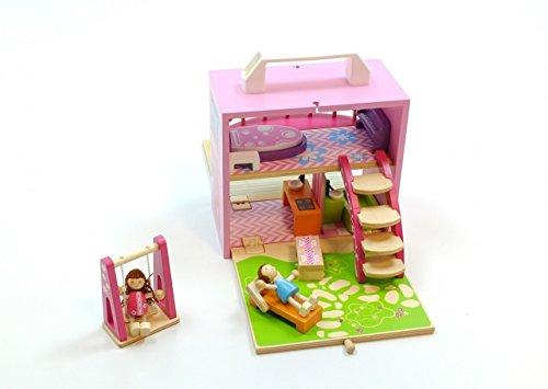 Spielkoffer Puppenhaus aus Holz /aufklappbare Holzbox mit Balkon, Treppe, 2 Tische, Badewanne, Waschbecken, Klavier, Liegestuhl, 2 Biegepuppen