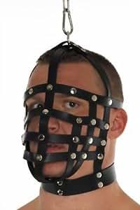 Masken Leder - Herren Riemenmaske mit Aufhängring an Obenseite für Hängebondage