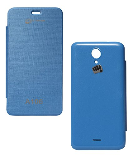 DMG Hot Pressed Leather Flip Cover Case for Micromax Unite 2 A106 (Royal Blue)