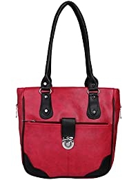 Fantosy Women Red And Black Lock Model Handbag Fnb-674