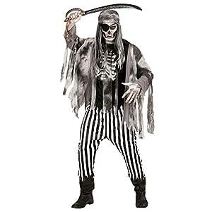 WIDMANN 05811 - traje adulto barco fantasma pirata, costillas camisa impronta, chaqueta, pantalón y pañuelo, S, negro