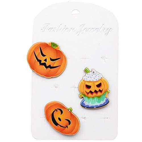 Cosanter 3 Stücken Halloween Broschen Pins Kürbiskopf Grafiken Stil 1 Geeignet für Kinder und Junge und Mädchen