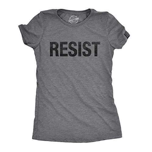 eed8042b6 Crazy Dog Tshirts - Womens Resist Tee United States of America Protest  Rebel Political T Shirt (Dark Heather Grey) - L - Divertente Donna Magliette