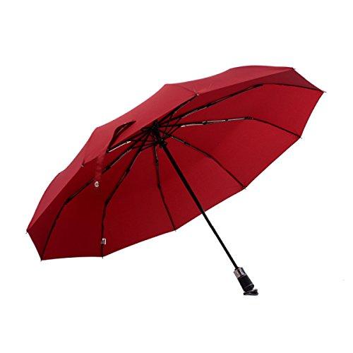 PXUDB Neu Kompakt Auto öffnen / Schließen 10 Rippen Dauerhafte Faser Verstärkt Winddicht Rahmen Wasserdicht Reise Golf Kreativ Sonnig Regenschirm Ledergriff Herren Damen,Red