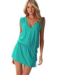 Vestidos de Verano Cortos Vestidos Playeros Sin Mangas Cuello en V Vestido  Playa Sueltos Vestidos Playero Corto Diarios Mini Casuales Anchos… 6ed29e3b3ef7