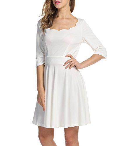 Trudge Damen Weihnachtsbäume Weihnachtsmann Skaterkleid Basic Kleid Swing Festlich Kleid Herbst Winter Schleife a linie blumen kleid B+Weiß