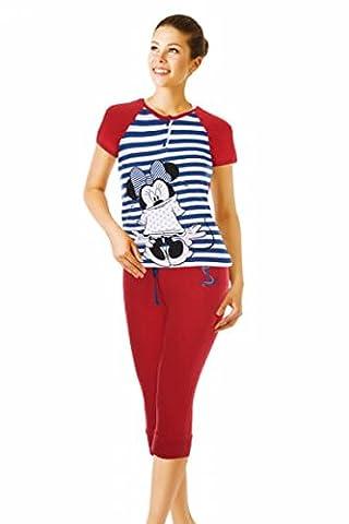 Women Ladies Teenagers Disney Minnie PJs Pyjama Set With T-shirt and 3/4 Leggings (XS, Red)