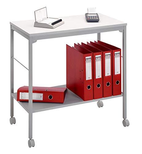 Aktenwagen, Beistellwagen DR-Büro - Maße 73,5 x 40 x 72 cm - mobiler Etagenwagen mit Rollen - Metallgestell grau - 1 Ordnerhöhe