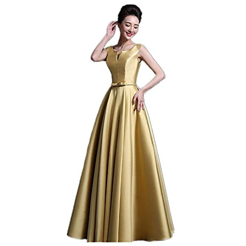 Hochzeit Kleid Der Braut Bridesmaids Geburtstag Prom Satin-Kleid Mit V-Ausschnitt Schlank Bankett Sleeveless Verband Frauen Lange Kleider . Gold . Us20
