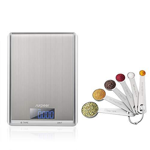 Bascula Cocina Digital,SURPEER Peso Cocina Digital,10kg/22lbs,Balanza Precision,Acero Inoxidable,Función de tara y pantalla...